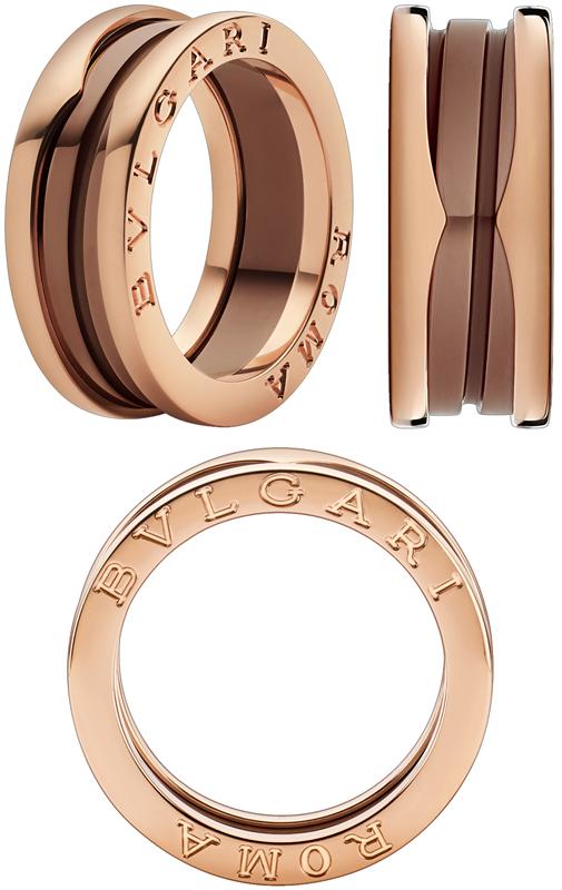 BVLGARI ブルガリローマビーゼロワンリングブロンズセラミックサーメット18Kピンクゴールド2バンドリングリング 指輪螺旋を細く解釈したデザインローズゴールドROMA B-Zero1 RING ROSE GOLD&CERMET円形競技場コロッセオインスピレーション