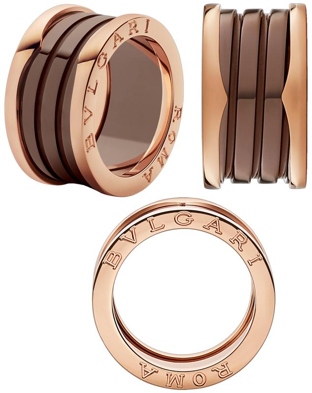 BVLGARI ブルガリローマビーゼロワンリングブロンズセラミックサーメット18Kピンクゴールド4バンドリングリング 指輪螺旋を細く解釈したデザインローズゴールドROMA B-Zero1 RING ROSEGOLD&CERMET円形競技場コロッセオインスピレーション