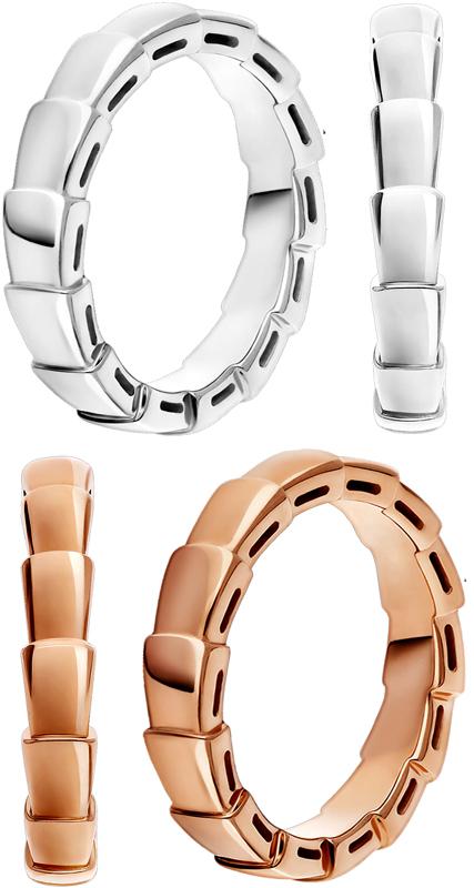 BVLGARI ブルガリ セルペンティリングホワイトゴールド ピンクゴールヘビ くねり&うろこ婚約指輪 結婚指輪 ウェディングリング18K SERPENTI RING