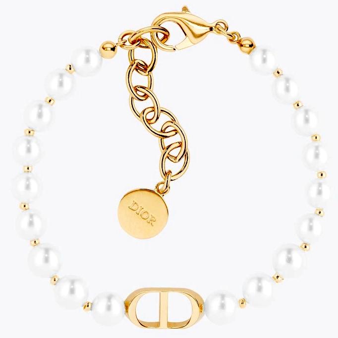 Christian DiorクリスチャンディオールホワイトレンジパールビーズブレスレットCDロゴプレート サイズ調整可能ロゴ刻印エンドタグプレートモンテーニュ ゴールドチェーンBRACELETPEARLWHITEGOLDD301GD