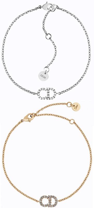 Christian DiorクリスチャンディオールラインストーンCDロゴチェーンブレスレット×CDロゴプレートロゴ刻印ラウンドプレート ゴールドホワイトクリスタル シルバーパラジウム仕上げLN BRACELET GOLDD301GDD102SLサイズ調整可能 腕輪
