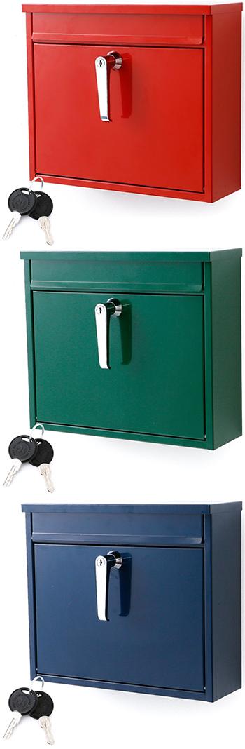 レバーロック付き郵便ポストシンプルスタイル スチール製メールボックス鍵付き郵便受けグリーン レッド ネイビー ホワイトWALL MAIL BOX 北欧テイスト郵便受け 新聞受けデザインポストボックス