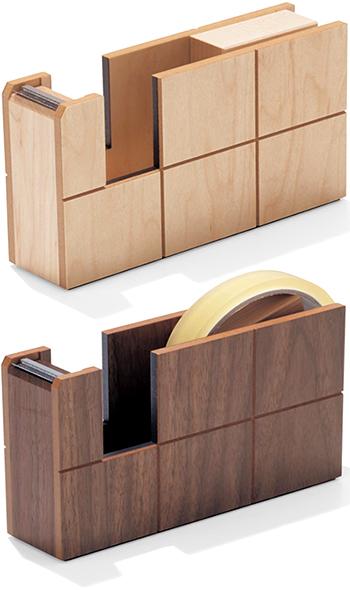 メイドインジャパン 天然木製テープカッターウッドテープディスペンサースクエアスリットモダンデザインメープルナチュラル ウォルナットブラウンWOODEN TAPE DISPENSER made in Japanナチュラルウッドテープ台