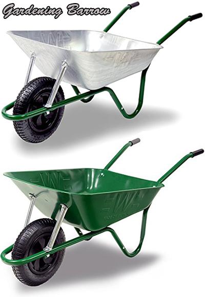 砂や砂利を一気に運ぶ!ブリティッシュバロー エアータイヤ仕様ガーデニング1輪車イギリス製だからこのデザイン公園の砂場遊びに必須!一輪車 手押し車バロウグリーン シルバー ホイールバローBritish heelbarrow深型一輪車 楽々空気タイヤ