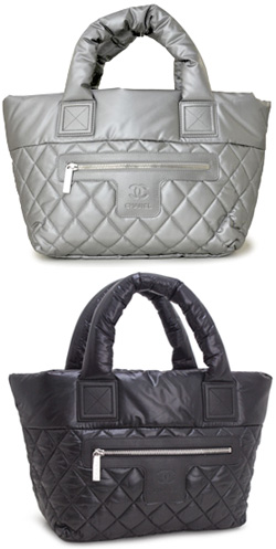 12e827da406860 CHANEL Chanel quilted shopping tot bag コココクーン reversible handbags shiny nylon  CHANEL A48610 black silver gray CC mark Coco make COCO COCOON BAG bag ...