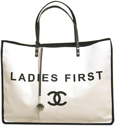 c9b9acb9b26562 CHANEL Chanel white X black tote bag lady fast shoulder bag here mark logo LADIES  FIRST ...