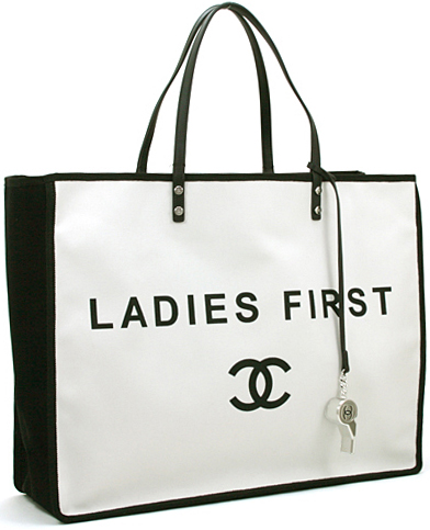 add54080382c40 ... CHANEL Chanel white X black tote bag lady fast shoulder bag here mark  logo LADIES FIRST