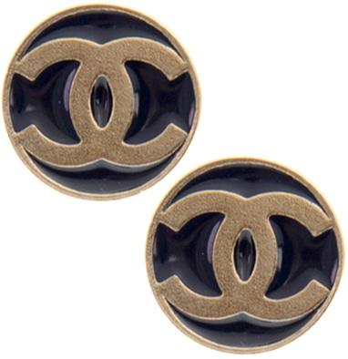 CHANEL シャネルピアス ゴールド×ネイビーCCロゴ ラウンドプレートコインプレート PIERCESレディース アクセサリー耳元のアクセントにNAVY GOLD