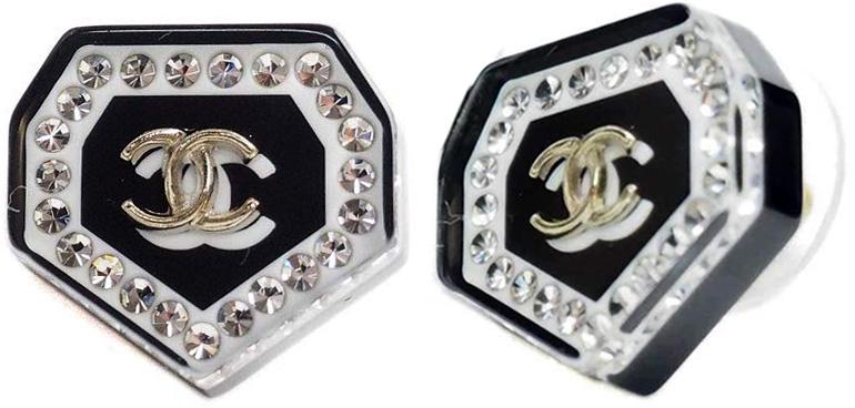 CHANEL シャネル ピアスブラック×クリア×ゴールドCCココマーク 七角形 アクセサリー耳元のアクセントダイヤモンドシェイプレズンヘプタゴン プレゼントに