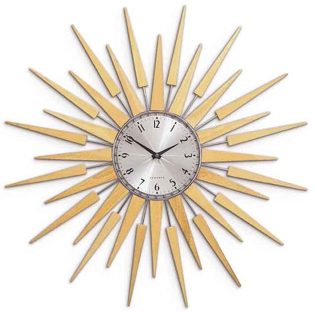 ニューゲート 掛け時計 プルトグ ウォールクロックBULLIT WALL CLOCK ブリット サンバーストナチュラル ブラウンNEW GATE PLUTOG SUNBURSTBROWN NATURAL太陽が燦々と輝くようなフォルムアンティークな色使いが周りのインテリアを引き立てる