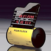 写真フィルム型LED時計カレンダー表示付きのお洒落なLEDクロックFILM CLOCK フィルムクロック ユニーク置き時計ホワイト イエロー