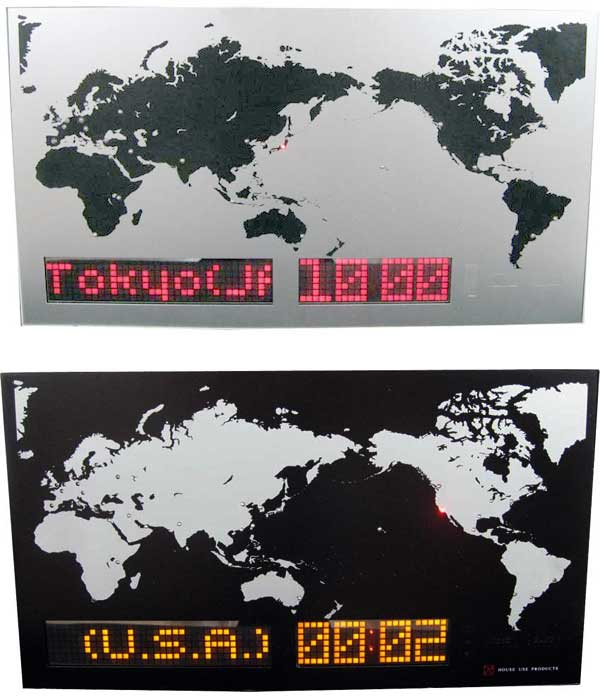 スクロールLEDワールドクロック都市を選択すると地図上のLEDが場所を示し、左下には都市名をスクロール表示世界35年の都市名(国名)と時刻を表示サマータイム対応SCROLL LED World Clock