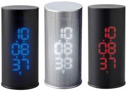 スチールメッシュからの光で表示電波メッシュLEDクロックバーティカル暗闇でも時間をはっきり確認できるホワイトLED ブルーLED レッドLED時間のズレも自動調整目覚まし時計 デスククロックスヌーズ機能付きアラームクロック 置き時計