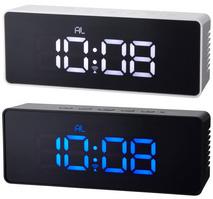 温度表示機能付きLED電波クロックテーパドレンガ電波LEDクロック ボタンの凹凸がないスッキリデザインブラック×ブルーLEDホワイト×ホワイトLED暗闇でも時間がはっきり確認できるデジタル目覚まし時計インテリアデザインアラームクロック