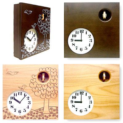 品質に太鼓判!メイドインジャパン!時間が来ると鳩が登場 壁掛け時計無地 草原プリント 鳩時計ハト時計 インテリアクロック ウォールクロックスクエアクロック ナチュラル ダークブラウンmade in Japan cuckoo clock