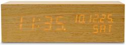 木目の内側から数字が浮かび上がる時刻・年月日・曜日表示ウッドブロックアラームクロック 目覚まし時計暗闇でも時間をはっきり確認できるスヌーズ機能付きデジタルカレンダークロック デスククロックナチュラル×LEDクロック 置き時計
