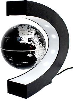 アーチ型の土台ベースのLEDライトが暗闇でも引き立たせる空間神秘的に中に浮く地球儀電磁誘導マグネットグローブ電源を入れると磁力が発生し、地球儀が中に浮きますシルバー ブルー ゴールド ブラック マルチカラーLEDインテリアやプレゼントとして人気