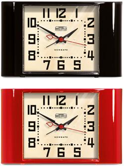 NEW 上質 GATE ニューゲートコーナーカーブ 目覚まし時計 メトロアラビア文字とクリーム色の文字盤置き時計 アラームクロック 曲線シャープな黒い長針と短針 デスククロックMETRO ブラック CLOCKレッド ALARM 国際ブランド