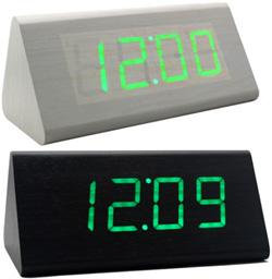 緑と木目が調和 木目の内側から数字が浮かび上がる日付・時刻・温度表示ウッド三角柱アラームクロック 目覚まし時計暗闇でも時間を確認ナチュラル×エメラルドグリーンLEDクロック ブラック グレー 置き時計音や振動に反応して点灯する節電モード搭載