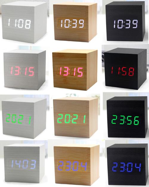 木目の内側から数字が浮かび上がる日付・時刻・温度表示ウッドキュービックアラームクロック 目覚まし時計暗闇でも時間を確認LEDクロック ブルー レッドブラック グレー ナチュラル 置き時計音や振動に反応して点灯する節電モード搭載