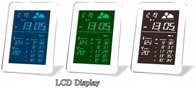 天気表示付きLCD電波クロック気温と湿度の推移を簡単に確認できる目覚まし時計ブルー グリーン ホワイト暗闇でも浮かび上がるLCDの光が穏やかに時間を表示掛け時計&置き時計月・日・時・分・室温・湿度・天気電波時計・スヌーズ&アラーム機能付き