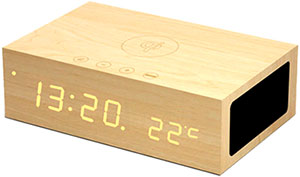 スマートフォンの楽曲を内蔵スピーカーから再生モダンデザイン 木目目覚まし時計ナチュラル ダークブラウン ブラックBluetooth Speaker木目に浮かび上がるLEDウッドクロック無線スピーカー&マイクでハンズフリー通話USB充電可能 温度計