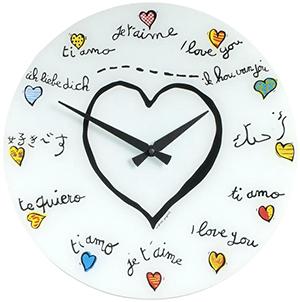 ハートクロックいろんな国の告白メッセージをイラストで時間を表してくれます掛け時計 ガラスウォールクロックホワイトオープンハート マルチカラープチハートデザインクロック ガラスウォールクロック掛時計 Loving YouI LOVE YOU The big heart