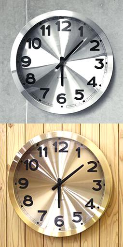 ヨーロピアン オランダデザイン壁掛け時計 ウォールクロックシルバー ゴールド ステーションクロックROUND WALL CLOCK丸型掛け時計 ラウンドウォールクロックアルミニウムヘアライン仕上げ