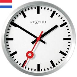 北欧オランダならではのこのデザイン壁掛け時計シンプルなデザインに秒針にコダワリありウォールクロック 掛時計ホワイト文字盤×シルバーフレームお部屋のインテリアを際立たせる白文字盤 ステーションクロック インデックス バー&ナンバー