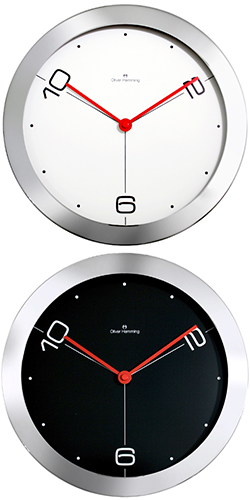 北欧ならではのデザイン 大きな掛け時計シンプルな文字盤と赤の秒針にコダワリありミッドセンチュリーウォールクロック掛時計 壁掛け時計お部屋のインテリアを際立たせるデザイナーズクロック「2・6・10」ホワイト ブラック クロムスチールケース