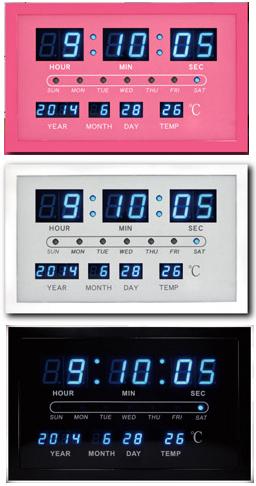 コンパクトデジタルウォールクロック時間・分・秒・西暦・月・日。温度表示お部屋のインテリア性を重視したピンク ホワイト ブラック ブルーLEDクロック暗闇でも簡単に確認できる掛け時計BLUE LED WALL CLOCK