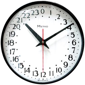 アメリカンヴィンテージスタイル60年代オフィス&スクール 60'S掛け時計 ダークグレーバブルガラス ハンマートーン塗装指針インテリアクロック24時間時計 24Hクロックラウンドウォールクロック