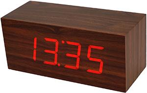 木目の内側から浮かび上がる時刻表示ウッドクロック 目覚まし時計暗闇でも時間をはっきり確認できるレッドLEDクロック ダークブラウン置き時計 レンガブロック 匠の技デジタルクロック デスククロックアラームクロック
