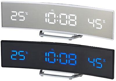 暗闇でも時間がはっきり確認できるインテリアデザインクロック時間のズレを自動補正電波時計 バインドバーLEDクロックホワイトLED ブルーLED ブラック時間・温度・湿度表示目覚まし時計 アラームクロックデスククロック スヌーズ機能付き