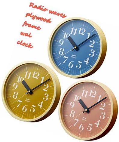 ウッドフレームウォールクロック 電波時計インテリアクロック 壁掛け時計マスタードイエローオレンジ オーシャンブルー ローズピンクシンプルデザインライン時間のズレも自動で補正 電波クロック