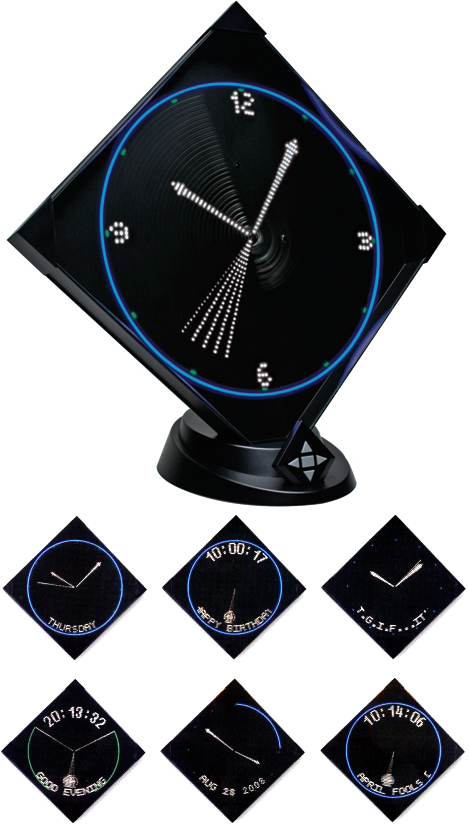 LEDアームバーが高速回転した際にできる光の残像で時間を表す掛け時計デジタル&アナログ&振り子時計など文字盤パターンは色々オリジナルメッセージも登録できプレゼントとしてもOKスタンド付きで置き時計にLEDヴァーチャルクロック ブラック リモコン付き