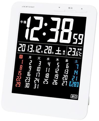 見やすいコントラスのデジタル電波時計曜日&温度&六曜表示機能付き置き時計カラーカレンダー表示 ホワイトフレーム 掛け時計曜日の色分けで一段と見やすくなりました時間のズレも自動補正アラーム機能 掛け置き兼用