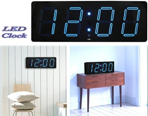暗闇でもはっきり時間が確認できるビッグLEDクロック大きな置き掛け兼用時計 ブラック置き時計 壁掛け時計ブルーLED 時間・分真っ暗でオフィスのような大きなお部屋でも遠くからはっきり確認できる便利さを味わって下さい