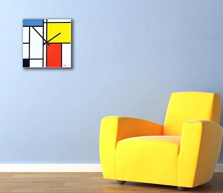 ヨーロピアン オランダデザイン絵画のような壁掛け時計ガラスウォールクロック北欧スクエア ポップカラークロックレッド イエロー ブルー ブラックSQUARE WALL CLOCK四角掛け時計 デザイナーズウォールクロック