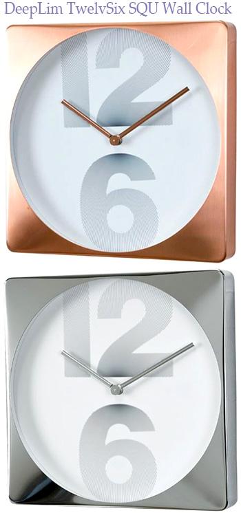 ディープリムデザインの2つの数字でインパクトのありオシャレなお部屋には存在感のある掛け時計をブラウンブロンズ グレーシルバーデザインクロック スクエアウォールクロックアーバンテイスト掛時計12×6インテックス