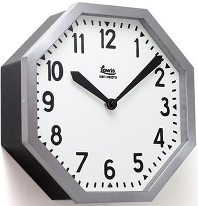 厚みのある八角形デザインウォールクロックアルミシルバー×ブラックホワイト掛け時計 滲みインデックス遠くからでも見やすい文字盤オフィス 壁掛け時計シンプル掛時計