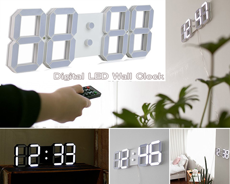 Available With Remote Control Alarm Clock Dark Wall White Black Solid Digital Display Led Design C Lock