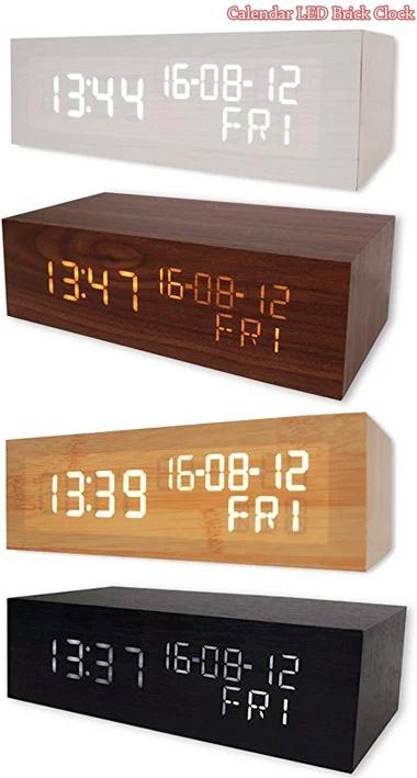 木目調に浮かび上がる時刻ブリックウッドデジタルデスククロックナチュラル ブラック ホワイト ダークブラウン目覚まし時計 カレンダー LEDクロック暗闇でも時間がはっきり確認できる時間&年月日&曜日を表示インテリアデザインアラームクロック