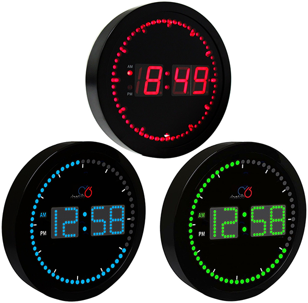 Time Clearly Discernable Even Darker Dot Count Round Led Clock Room Wall Black Frame X White Blue Intelliades Ink Lock