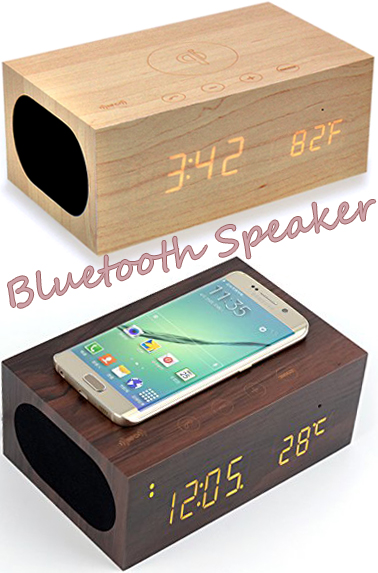スマートフォンを乗せるだけで楽曲を内蔵スピーカーから再生タッチセンサー木製目覚まし時計ナチュラル ダークブラウン Bluetooth木目に浮かび上がるLEDウッドクロック無線スピーカー&マイクでハンズフリー通話USB充電可能 温度表示