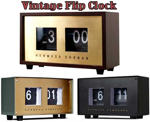 ヴィンテージフリックデスククロック置き時計 レンガボックスパタパタクロック 置時計ウッドダークブラウン スチールシルバ アンティークブラスゴールド スチールブラック60年代に流行したフラップ表示天然木材×真鍮プレゼントや贈り物に!