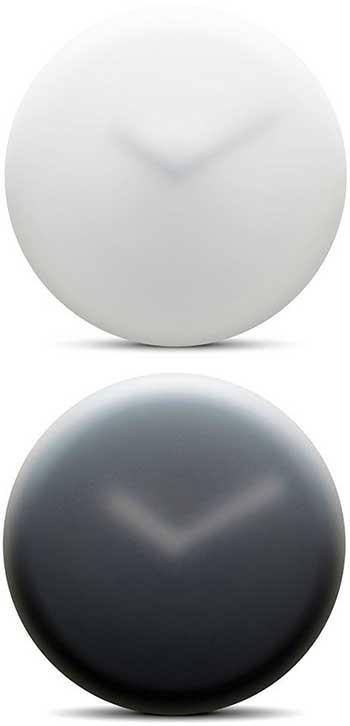 霧がかかった様にぼやけるデザイン壁掛け時計ウォールクロック霧で霞みかかったようなデザインブラック ホワイト デザインクロック空想的でまるで浮いているように見える時計不透明な表面はで指針との前後関係をゆがめます