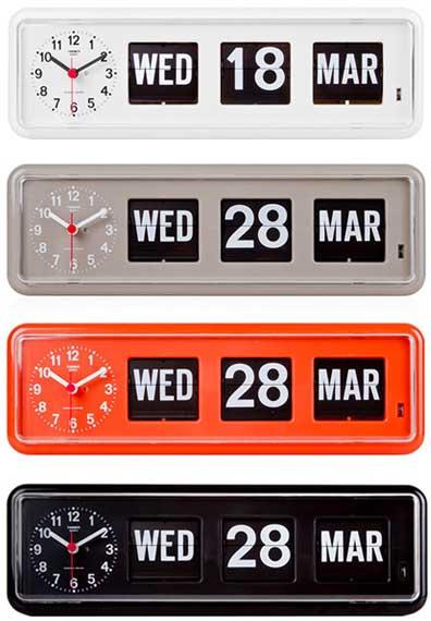 フリップクロック 目覚まし時計ホワイト オレンジ グレー ブラック グレー置き時計 TWEMCO FLIP CALENDAR CLOCKカレンダー付パタパタ時計 アナログ時計×曜日×日付×月オートマチックカレンダークロックデスククロック 掛け時計 テーブルクロック