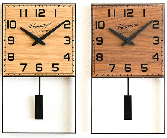 コレぞメイドインジャパンデザイン掛時計ブラックレクタングルフレーム振り子時計オークナチュラル ウォールナットブラウンアラビアインデックスどんなお部屋でもよく馴染む日本製掛け時計made in JpanRECTANGLE FRAME WALL CLOCK
