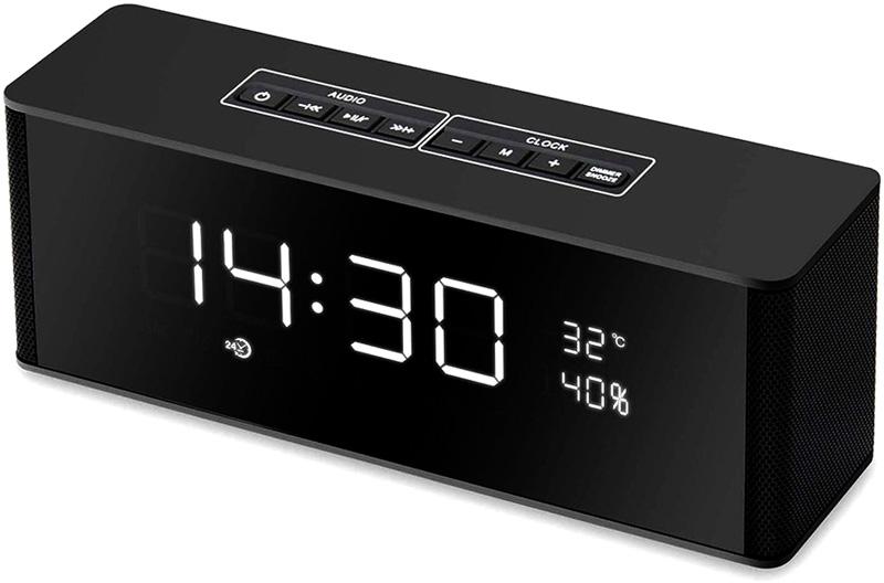 トーンブロックアラームクロックブラック×ホワイトLED スヌーズ機能付き温度計&湿度表示付き目覚まし時計暗闇でも時間をはっきり確認できる置き時計 デジタルクロックLCDデスククロック MP3Blutetooth接続でスピーカーとして音楽再生可能